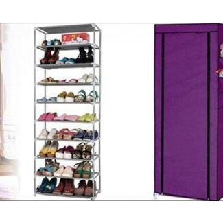 10 Tiers Shoe Rack with Dustproof Cover