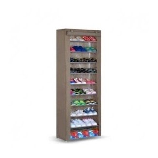10C Shoe Rack With Cover - 10 Tier Coffee |
