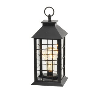 11 in. Black Battery Operated Plastic Lantern with 10 ...