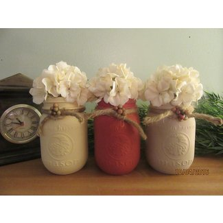 17 Shabby Chic Handmade Fall Mason Jar Decor Ideas For