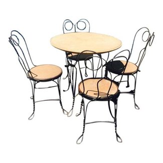 1930's Ice Cream Parlor Chairs and Table Set | Chairish
