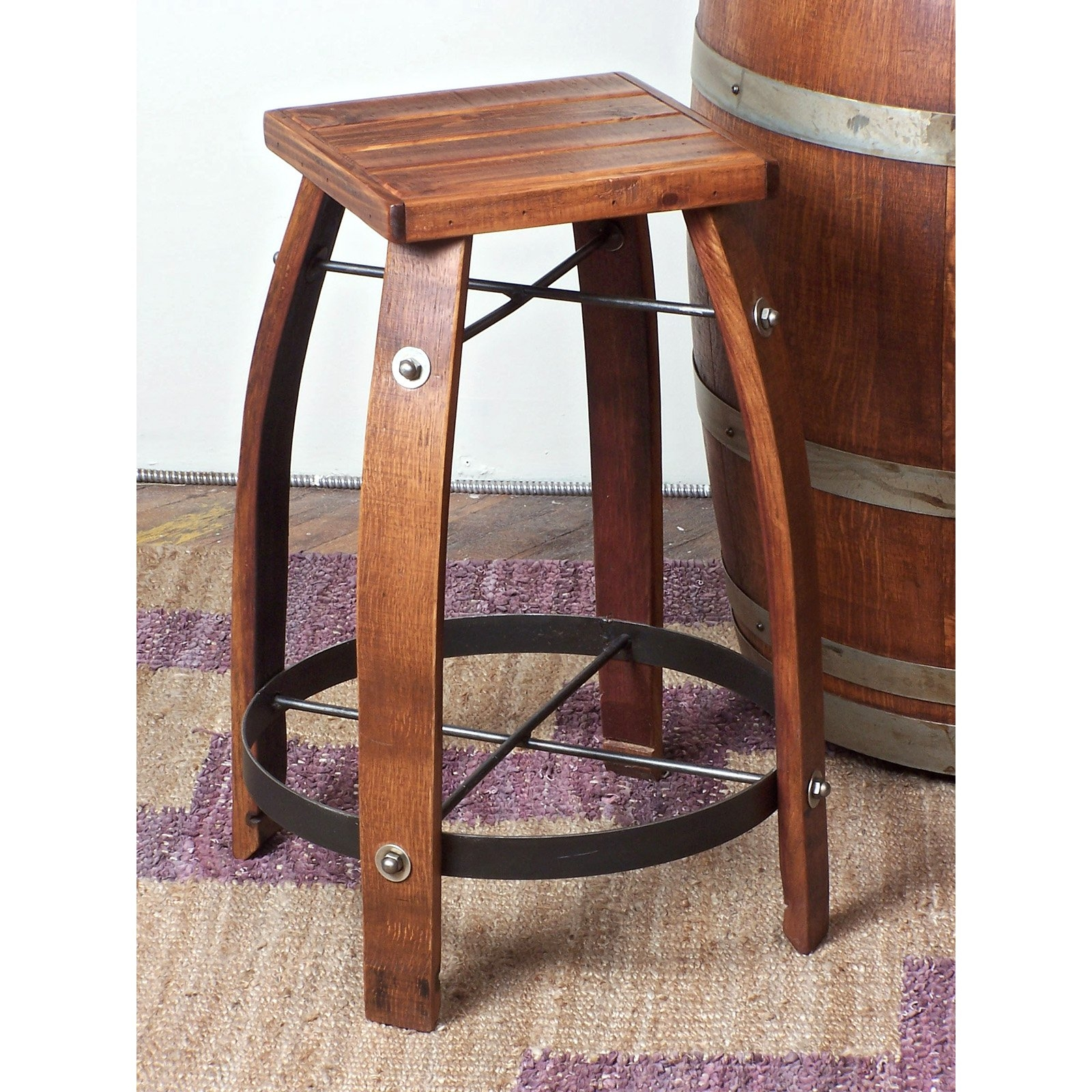 Wine barrel bar plans Ideas Day Designs Reclaimed 24inch Stave Wine Barrel Counter Stool With Wood Seat Visual Hunt Wine Barrel Bar Stools Visual Hunt