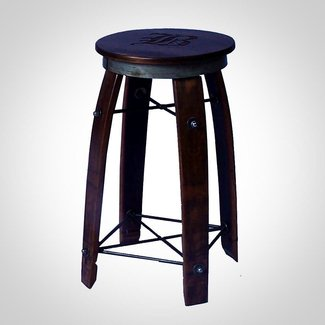 "24"" Daisy Swivel Stave Stool - Made from Wine Barrels (Weathered Finish)"