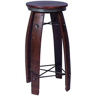 "28"" Daisy Swivel Stave Stool - Made from Wine Barrels (Weathered Finish)"