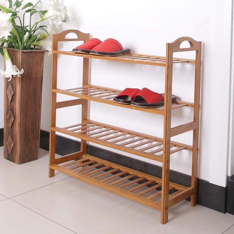4 Tier Space Saving Wood Shoe Storage Rack   Yugster