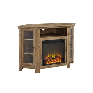 "48"" Corner Fireplace TV Stand in Barnwood - Walker Edison"