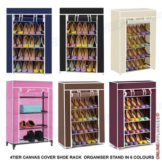 4TIER CANVAS FABRIC COVER SHOE RACK SHELVES STORAGE SHOES ...