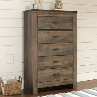 5 Drawer Tall Chest Cabinet, Dresser, Made of Wood, Metal Glides, Space Saving, Home Furniture, Functional, Suitable for Bedroom, Guest Room, Brown Color + Expert Guide