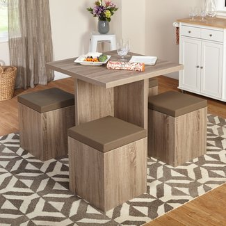 5-Piece Baxter Dining Set with Storage Ottoman