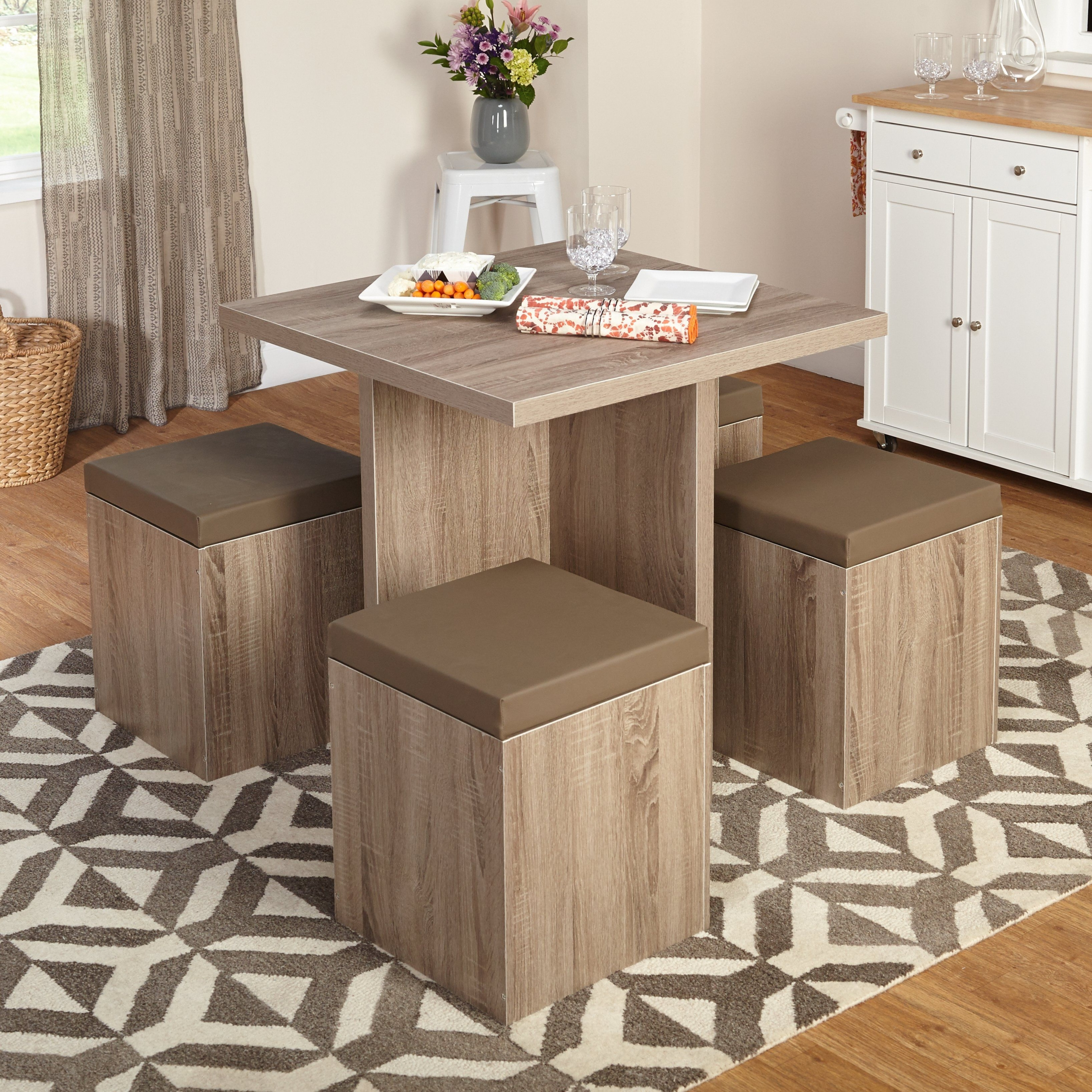 Ordinaire 5 Piece Baxter Dining Set With Storage Ottoman