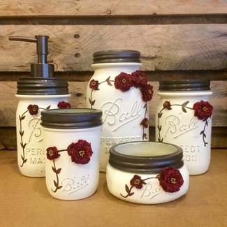 5 Piece Ivory and Burgundy Vintage Mason Jar Vanity Set, Shabby Chic Mason Jar Bathroom Set, Mason Jar Desk Set, Vintage Mason Jar decor, Ball Perfect Mason Jars