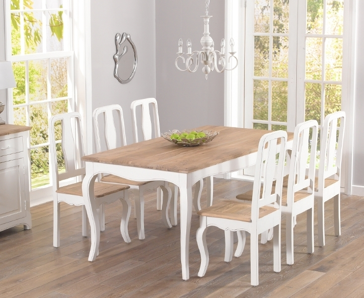 Curved Shapes Combined With A White And Natural Wood Finish Provide  Together Fantastic Shabby Chic Or Cottage Appeals. This Dining Set Designed  For 6 To 8 ...