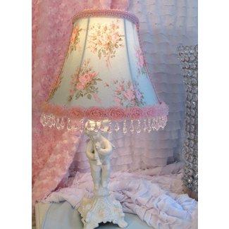 """7 """" Bell LAMP SHADE AQUA w Pink Roses fabric"""