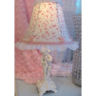 "7"" Bell LAMP SHADE made w Aswell BLUE Pink Rose"