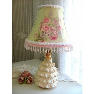 "7"" LAMP SHADE R Ashwell BLUE Pink Roses shabby chic"