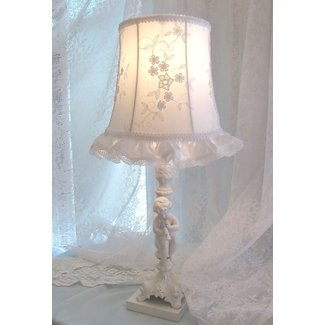 "7 OR 8"" LAMP SHADE Antique white embroiderd fabric shabby"