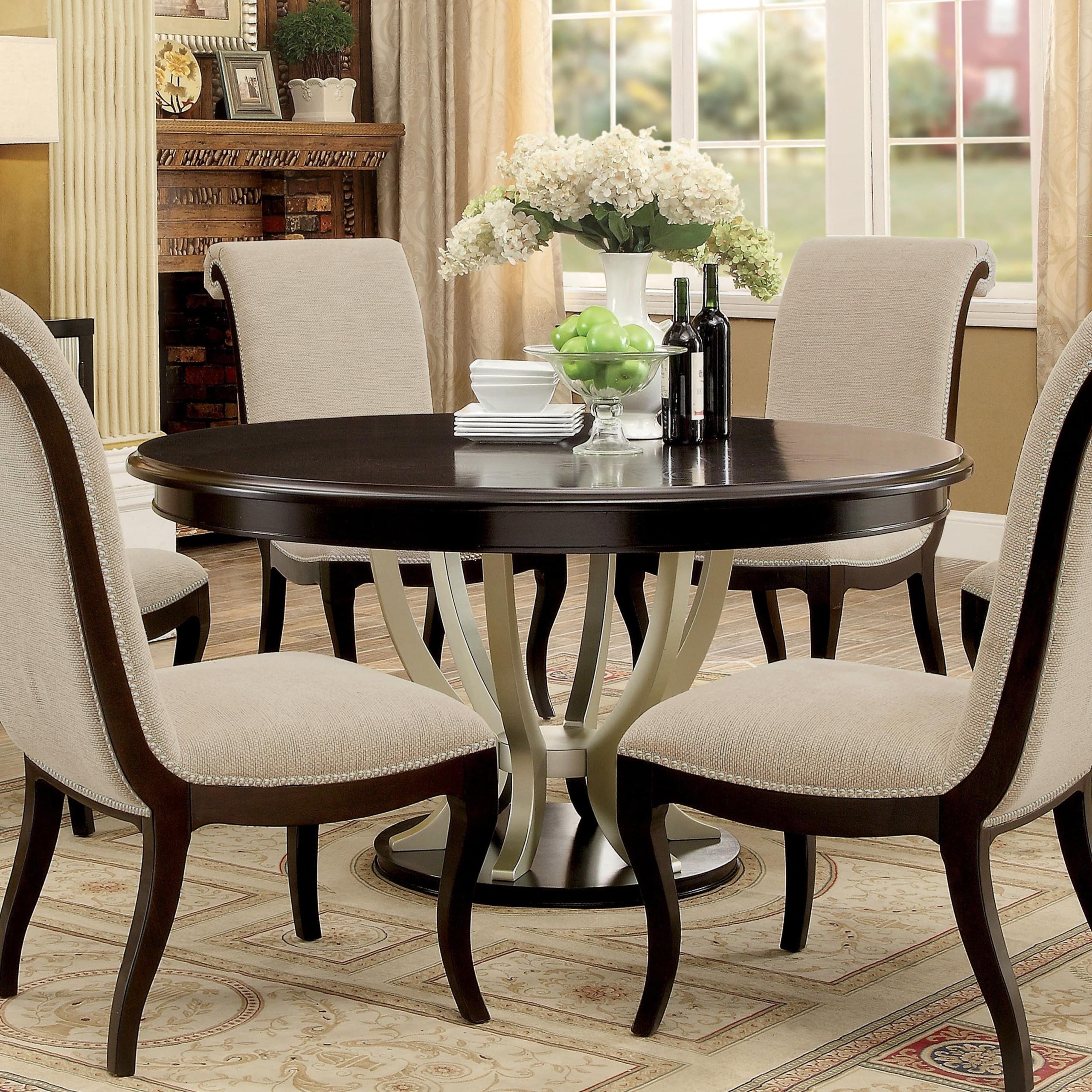 Round dining table for 6 Glass Top Amazing Round Dining Room Table For Persons Under Iloveromaniaco Round Dining Table For Visual Hunt