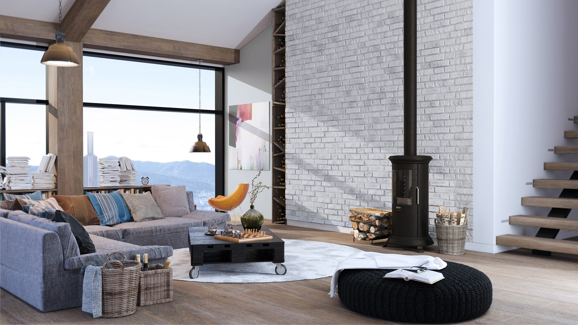 White brick wall in contemporary living room