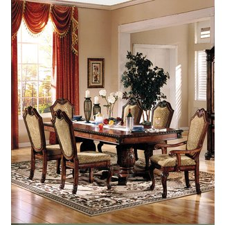 ACME Chateau De Ville Dining Table with Double Pedestal in Cherry