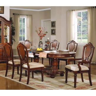 ACME Classique Dining Table with Double Pedestal in Cherry
