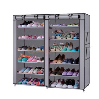 Adjustable 6 Tier Steel Shoe Rack with Cover - $17