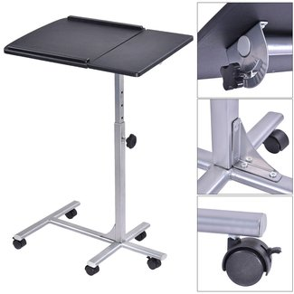 Adjustable Angle & Height Rolling Laptop Notebook Desk ...