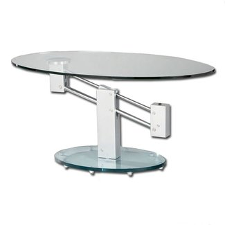 Adjustable Height Oval Glass Coffee Table | Buy Glass ...