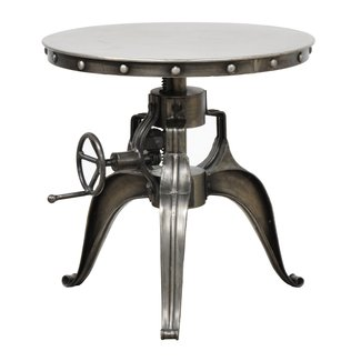 Adjustable Iron Industrial Crank Accent Bistro Coffee Table Includes Our Exclusive Mouse Pad