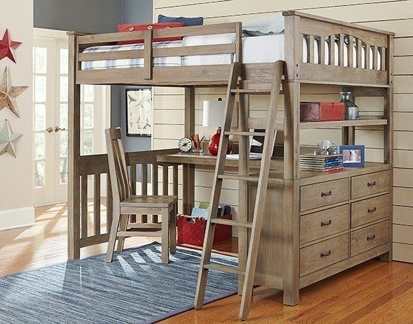 Full Size Loft Bed With Desk You Ll, Loft Bed With Drawers And Desk