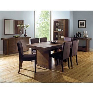 Akita Walnut 6 Seater Panel Dining Table & 6 Square