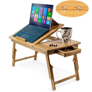 Aleratec Natural Bamboo Adjustable Laptop Stand Up to 15in ...