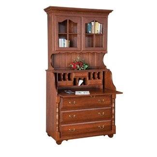 Amish Slant Top Secretary Desk with Hutch Top
