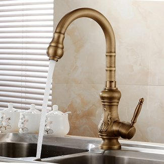 Antique brass kitchen faucet bronze finish,water tap ...