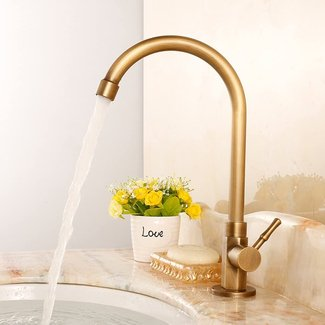 Antique Brass Vessel Cold Water Kitchen Sink Faucets, $75.99
