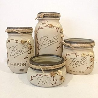 Antique finish Ivory Mason Jar Office Decor