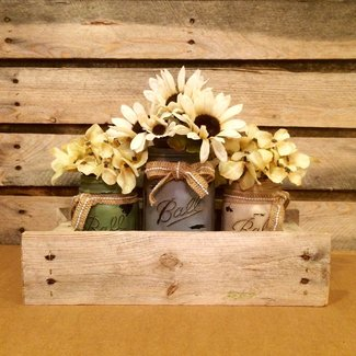 Antique Finish Mason Jars in Primitive Pallet Box, Rustic Mason Jar Centerpiece, Shabby Chic Mason Jar Table Decor, Housewarming Gift