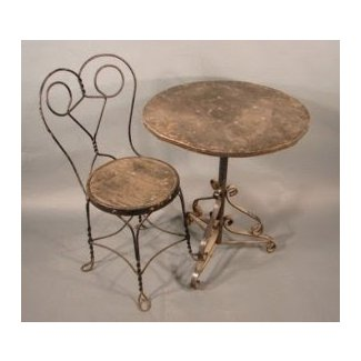 Antique Ice Cream Parlor Table And Chairs | Antique Furniture