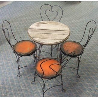 Antique Ice Cream Parlor Table With Four Chairs