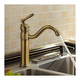 Antique Inspired Kitchen Faucet - Antique Brass Finish ...