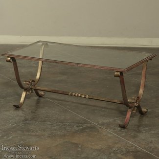 Antique Wrought Iron & Glass Coffee Table - Inessa Stewart