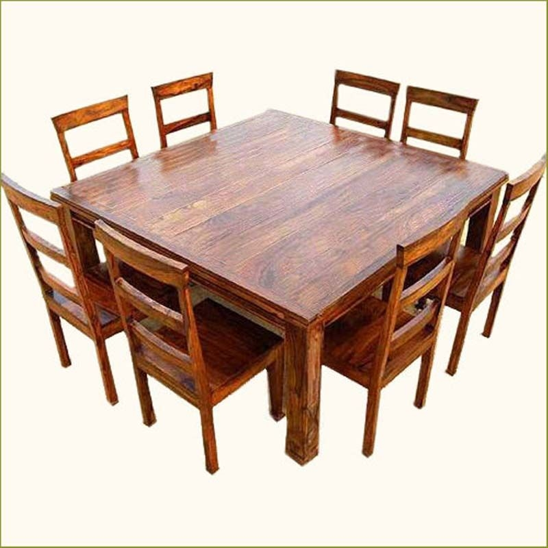 Genial Appalachian Rustic 9 Pc Square Wood Dining Table And Chair