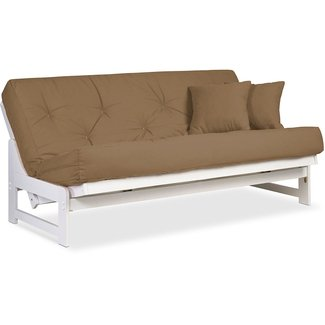 Arden White Futon Set Full or Queen Size - Armless Wood Futon Frame with Mattress Included, More Mattress Colors Available, Comfortable Space Saving Modern Sofa Bed Sleeper