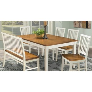 Arlington Dining Table with Slat Back Bench & Slat Back