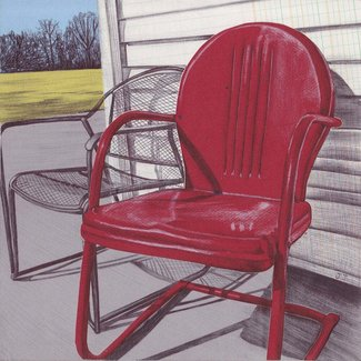 Art Print Vintage Metal Lawn Chair Wall