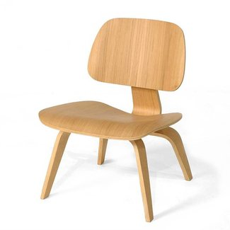 Ash Wood - Eames Style Molded Plywood Lounge Chair Mid