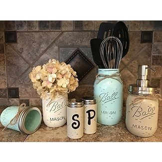 Ball Mason Jar KITCHEN PICK YOUR OWN PACK SET ~Pint Vase, Salt & Pepper Shakers, Utensil Holder, Stainless Steel Soap Dispenser ~Canning JARS Hand PAINTED Distressed ~Gray Light Blue Cream Tan