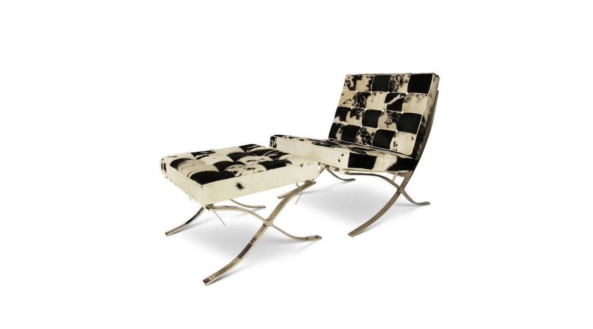 Barcelona Chair Cowhide With Ottoman Black White .