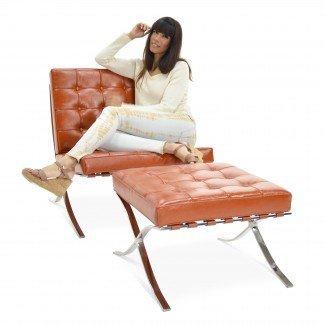 Barcelona Chair With Footstool In Beautiful Cognac. Van .
