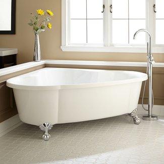 Bathroom. Serene White Bathroom With Outside Garden View ...