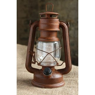Battery Operated Vintage Style Dimmable Rusty Lantern with ...